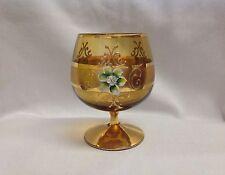 Bohemian Brandy Snifter Hand Painted Flower Amber Glass Stemware Vintage