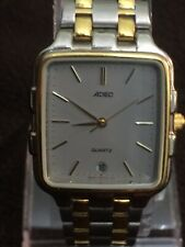 ADEC Quartz Unisex Watch Square Face Date,30/30mm Case,Two Tone Stainless Steel