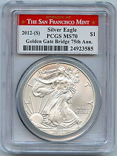 2012 S Silver American Eagle Dollar MS70 PCGS Certified Coin San Francisco C47