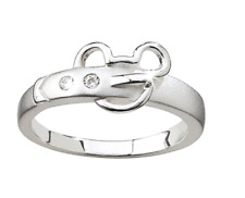 Sterling Silver .925✿ Crystal BUCKLE✿ Mickey Mouse Ring Disney Authentic Size 7