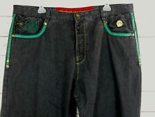 Crown Holder Men's Loose Fit/Baggy Black Ebroidered Jeans W/Leather Trim 44X35