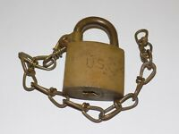 Vintage American US Padlock With Chain