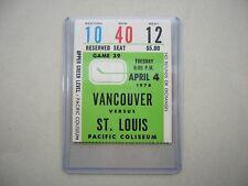 1977/78 VANCOUVER CANUCKS ST LOUIS BLUES TICKET STUB SHARP BERNIE FEDERKO ROOKIE