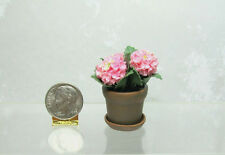 Dollhouse Miniature or Fairy Garden Pink Hydrangea in Aged Flower Pot