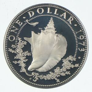 Roughly Size of Quarter 1973 Bahama Islands 1 Dollar World Silver Coin *378