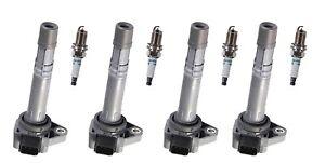 Set 4 Ignition Coils + 4 Denso Spark Plug Platinum TT For Honda, Acura & Saturn