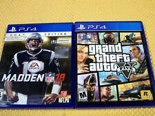 LOT OF 2 PS4 GAMES:  Grand Theft Auto V (GTA 5 GTA V) & Madden 18 GOAT Edition!