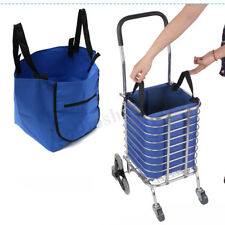Supermarket Shopping Reusable Foldable Bags Grocery Trolley Cart Clips Blue
