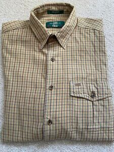 Orvis Mens Soft Cotton Plaid Shirt Size XL Used