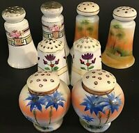 NIPPON SALT & PEPPER SHAKERS 4 SETS HAND PAINTED FLOWERS PALM TREES ANTIQUE