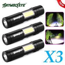 3x Q5+COB Mini LED Flashlight XPE Torch Lamp Penlight AA/14500 4 Modes Light Hot