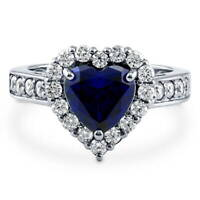 BERRICLE Sterling Silver Heart Shaped Cubic Zirconia CZ Halo Engagement Ring