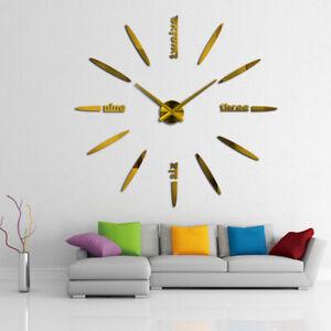 3D Spiegel Acryl Wanduhr Wand Uhr Batterie DIY Design Wohnkultur Schlafzimmer DE