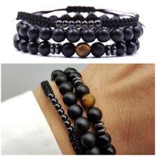 Bracciale uomo pietre dure SET 3 bracciali in nero con sfere da braccialetti