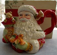 Fitz & Floyd Damask Holiday Teapot Santa with Stocking New In Box