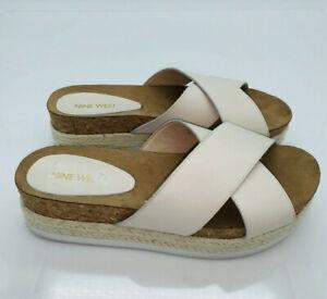 Nine West Women's Amyas Platform Slide Wedge Sandals Cream US 7M    #O-23