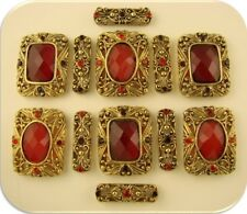 2 Hole Beads Red Facets & Siam Swarovski Crystal Elements ~ GOLD Sliders QTY 12