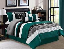 Dcp Oversize Stripe Luxury Beding Comforter Sets,Bed in a Bag,Teal,King,7 Pcs