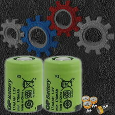 2 Pcs GP 1/3 AAA 170 mAH 17AAAH Ni-Mh 1.2 Volt Rechargeable Flat Top Battery