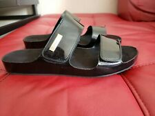 Calvin Klein Women's Mayra Flat Strappy Patent leather Sandals Sz8 Black Shoes