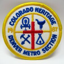 Vintage Patch - Colorado Heritage - 1987 - Embroidered Cross & Covered Wagon