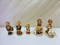"""Hummel Goebel Figurines Lot of 5 3""""-4"""" Girl with Ducks Germany Vintage"""