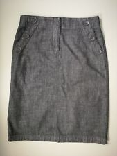 M&S Dark blue denim aline knee length casual everyday autumn skirt size 8