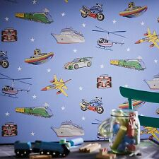 ZOOM AWAY VEHICLES WALLPAPER BLUE - ARTHOUSE 696203 - CARS PLANES TRAINS NEW