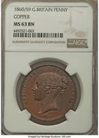 UK 1860/59 Copper Penny NGC MS63 the Most Rare Victorian Penny