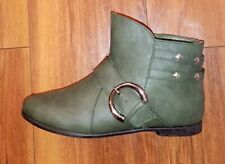 WOMENS STUNNING NEW COMFY FLAT BUCKLE DESIGN GREEN ANKLE BOOTS: UK SIZE 4 (37)