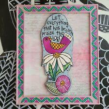 Folk Art ORIGINAL Psalm Bible Scripture Praise LORD Bird Flower Painting Wood