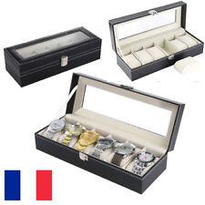 Coffret Boîte à montre Boîtier pour 6 montres Coussins Souples de Rangement Noir
