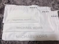 Michael Kors  14''x13'', 19''x19'', 21''x21''  White Satin  Drawstring Dust bag