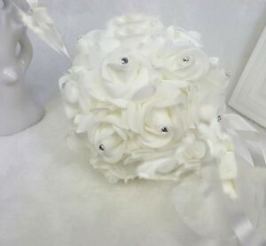 "8"" Foam Rose Pomander Flower Kissing Ball Wedding Party Decoration + Rhinestone"