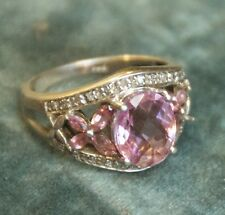 VINTAGE STERLING SILVER DIAMOND PINK AMETHYST RING CUSHION OVAL COCKTAIL SZ 7