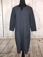 J Jill Dress Ribbed Horizontal Stripes Pockets Navy Blue Medium M NWT