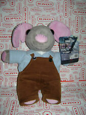 "WORLD Z WAR I'M SUBWAY SAM GRAY MOUSE BROWN OVERALLS 14"" PLUSH STUFFED TOY CUTE"