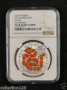 CHINA Silver Coin 10 Yuan 2013, Colorized, Lunar Series - Snake, NGC PF69