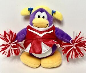 "Disney Club Penguin Plush 7"" Red & White Purple Cheerleader w/ Pom Poms"