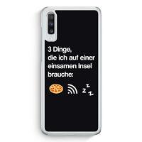 3 Dinge Einsame Insel: Pizza Wlan Schlaf Samsung Galaxy A70 Hülle Motiv Desig...