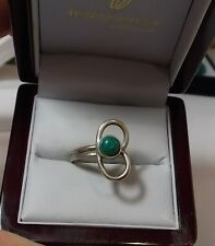 Cute Vintage Silver Hand Made Green Malachite Cabochon Band Ring sz 6 11d 82