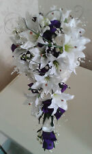 TEARDROP BRIDAL SHOWER BOUQUET Lilys Roses Lily of Valley & BLING PURPLE & WHITE