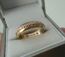 Welsh Rose & Yellow Gold Celtic Weave Ring h/m year 2000 Cymru Y Metel  - size O
