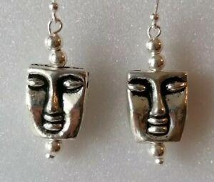 Unusual Face Drop Dangle 925 Sterling Silver Hook Earrings