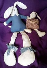 Shelf Sitter Muslin Country Easter Bunny Rabbits Set of 2 One is House of Lloyd