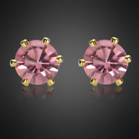 Fashion Lady Round Cut Pink Sapphire 18K Yellow Gold Plated Gp Stud Earrings