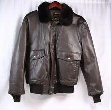 COOPER Vintage 70s G-1 Brown Leather Bomber Shearling Collar Jacket Coat Men 44