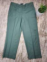 J Crew Pants Super 120s Green Ankle Straight Leg 100% Wool Womens Size 2