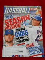 Baseball Digest MLB 2015 Season Preview Anthony Rizzo/Jon Lester on Cover (Good)