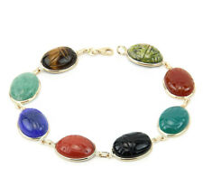14K Yellow Gold Gemstone Bracelet With Large Multi Color Oval Scarabs 8 Inches